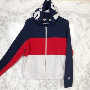 Levi's Zip-Up Hoodie Colorblock Spellout Logo Med